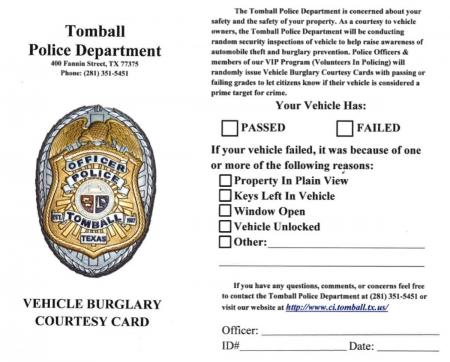 Tomball PD Vehicle Courtesy Cards